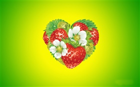 Love heart, flowers, strawberry, creative design HD wallpaper