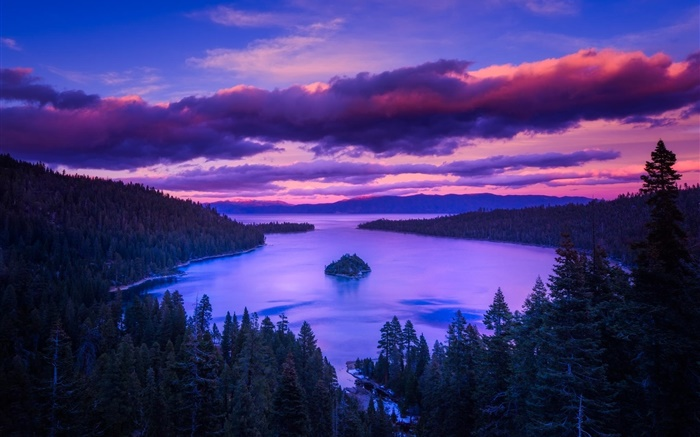 Nature, dawn, lake, mountains, island, trees, clouds Wallpapers Pictures Photos Images
