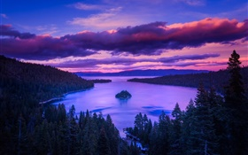 Nature, dawn, lake, mountains, island, trees, clouds HD wallpaper