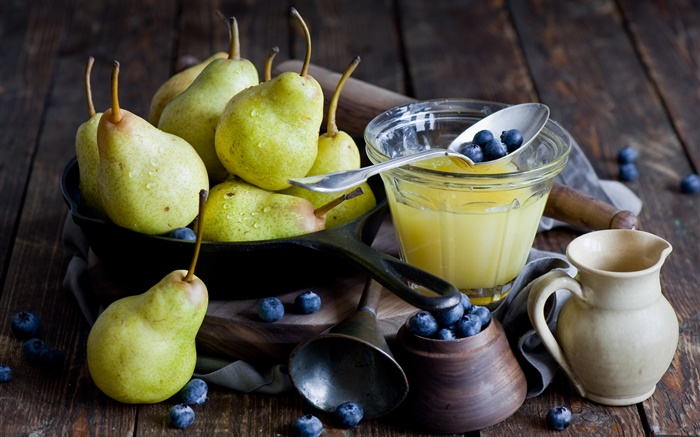 Pears, blueberries Wallpapers Pictures Photos Images