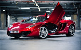 Red McLaren MP4-12C supercar parking HD wallpaper