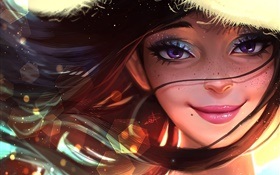 Smile fantasy girl, hair, wind HD wallpaper