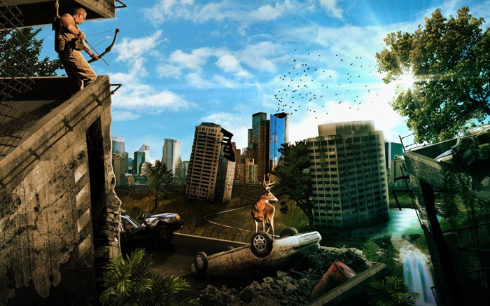 Urban ruins, city, buildings, deer, car, creative design Wallpapers Pictures Photos Images