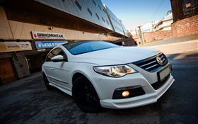 Volkswagen Passat white car front view HD wallpaper