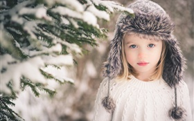 Winter child girl, snow, hat, sweater, trees