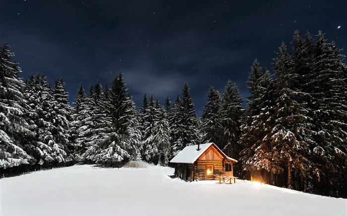 Winter, snow, trees, night, hut Wallpapers Pictures Photos Images