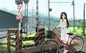 Anime girl, railway, bike, power lines HD wallpaper