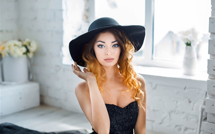 Blue eyes girl, curly hair, hat, window Wallpapers Pictures Photos Images