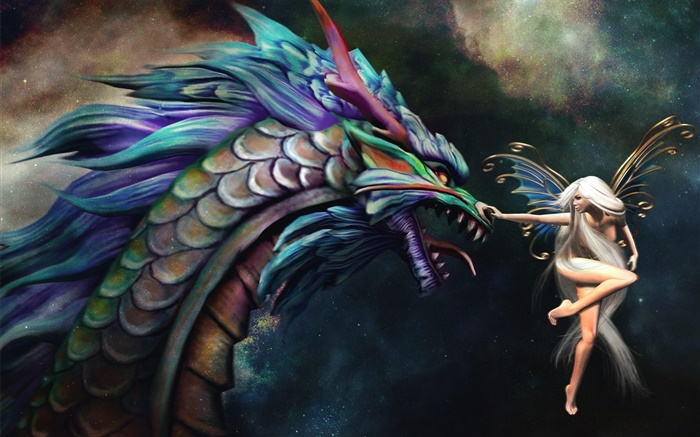 Butterfly wizard girl and dragon Wallpapers Pictures Photos Images