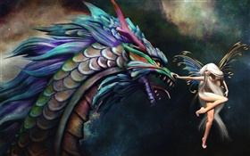 Butterfly wizard girl and dragon HD wallpaper