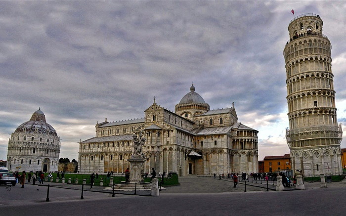 Cathedral, Pisa leaning tower, Italy, city Wallpapers Pictures Photos Images