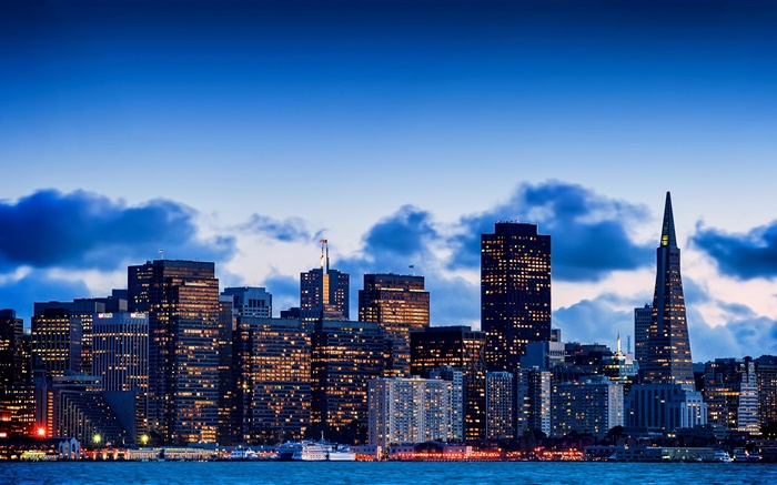 City at dusk, skyscrapers, San Francisco, California, USA Wallpapers Pictures Photos Images