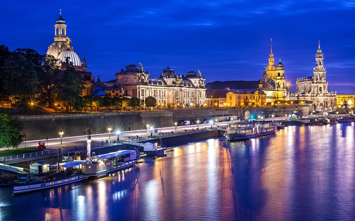 City, river, yachts, houses, night, lights, Dresden, Germany Wallpapers Pictures Photos Images