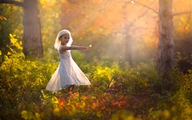 Cute little girl in the forest, children HD wallpaper