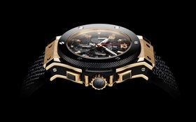 Hublot, Swiss watch side view, black background