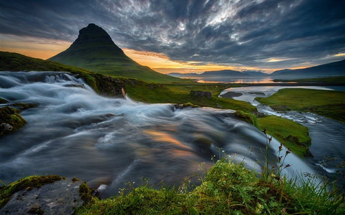Iceland, mountain, waterfall, clouds, sunset Wallpapers Pictures Photos Images
