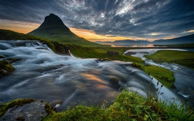 Iceland, mountain, waterfall, clouds, sunset HD wallpaper