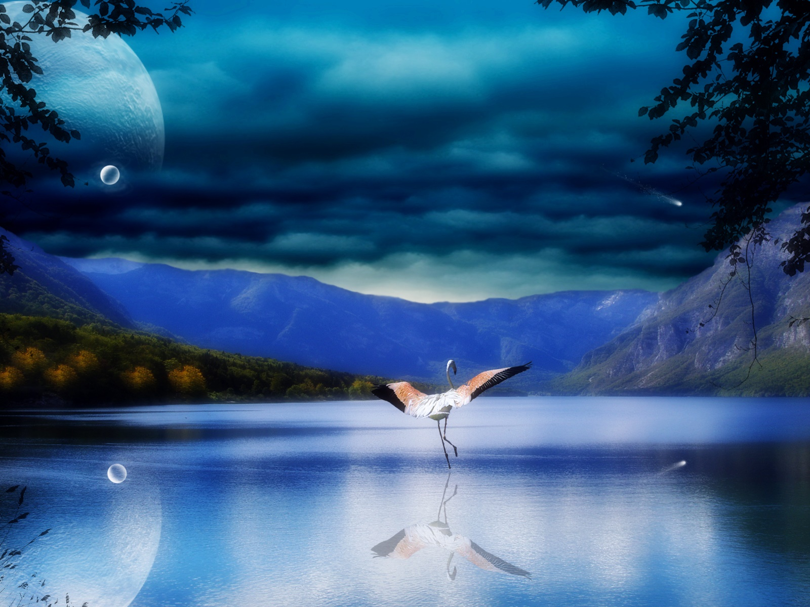 Lake, water reflection, mountains, stork, wings 1600x1200 wallpaper