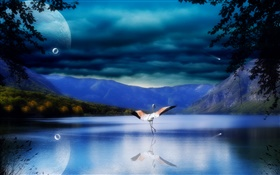 Lake, water reflection, mountains, stork, wings HD wallpaper