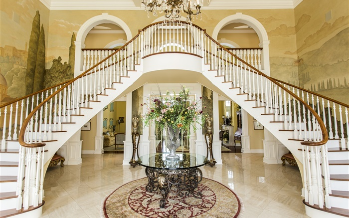 Luxury hall, ladder, flowers, room Wallpapers Pictures Photos Images