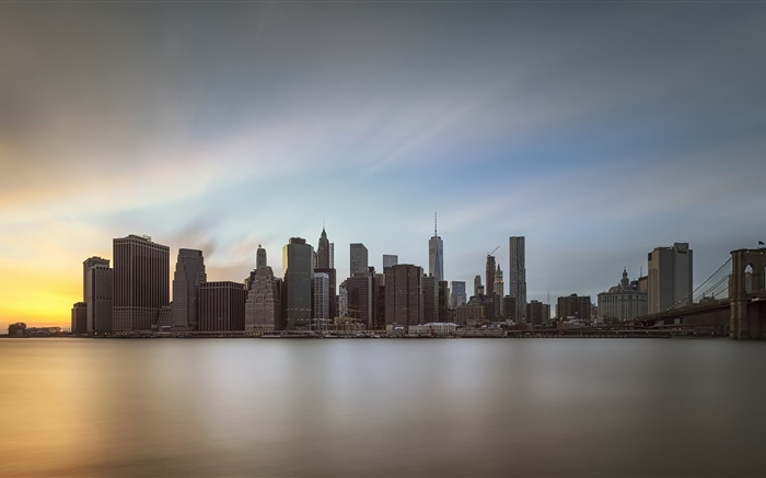 Manhattan, city at dusk, water reflection, USA Wallpapers Pictures Photos Images