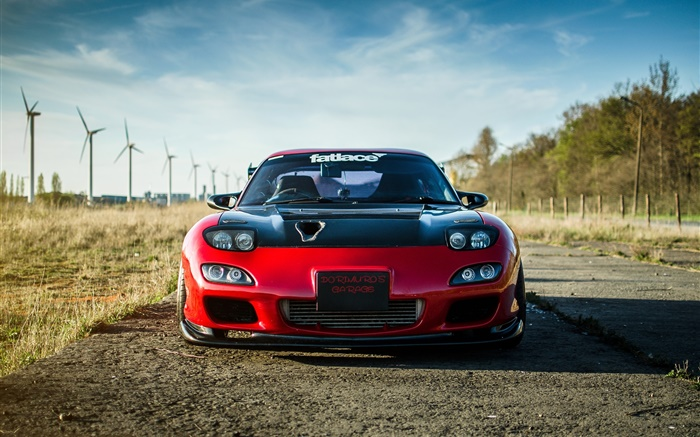 Mazda RX-7 red car front view Wallpapers Pictures Photos Images
