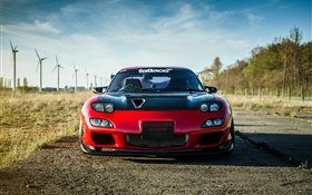 Mazda RX-7 red car front view HD wallpaper