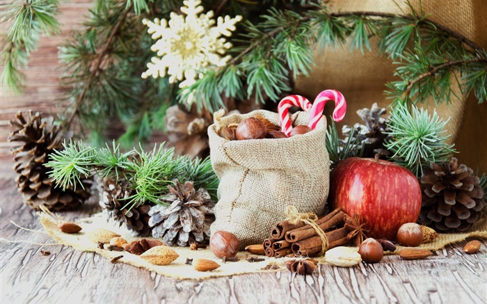 Merry Christmas, bag, candy, apple, nuts Wallpapers Pictures Photos Images