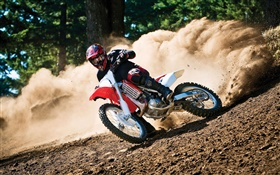 Motorcycle race, drift, dirt HD wallpaper