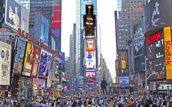 New York, Times Square, skyscrapers, street, people, USA Wallpapers Pictures Photos Images