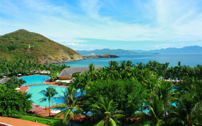 Palm trees, pool, house, mountains, island, sea, Thailand Wallpapers Pictures Photos Images