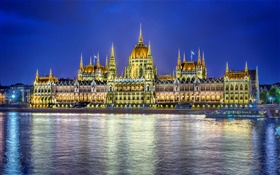 Parliament building, water reflection, lights, Budapest, Hungary