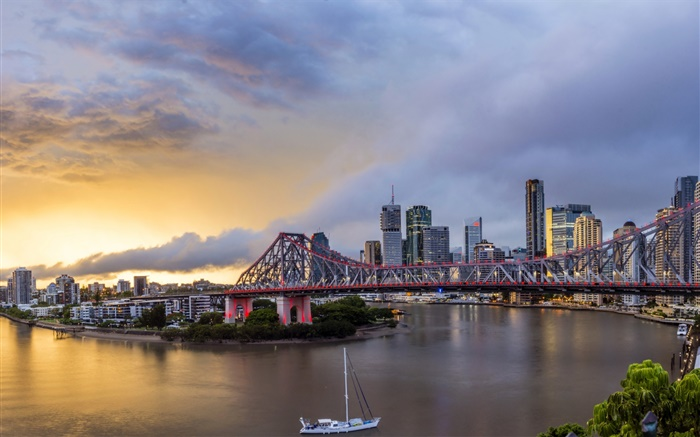 Queensland, Chinatown, Australia, river, bridge, dawn, buildings Wallpapers Pictures Photos Images