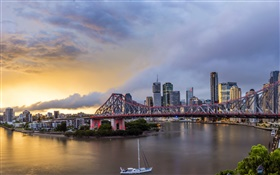 Queensland, Chinatown, Australia, river, bridge, dawn, buildings HD wallpaper