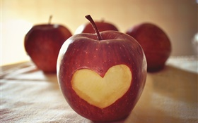 Red apple, love heart HD wallpaper