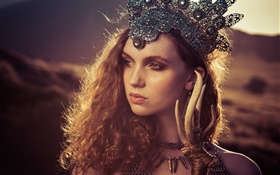 Redhead girl, crown, retro style HD wallpaper