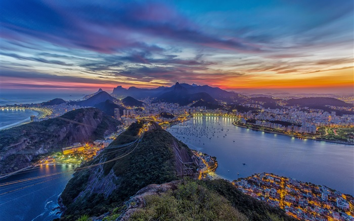 Rio de Janeiro, cable car, mountains, city, coast, night, lights Wallpapers Pictures Photos Images