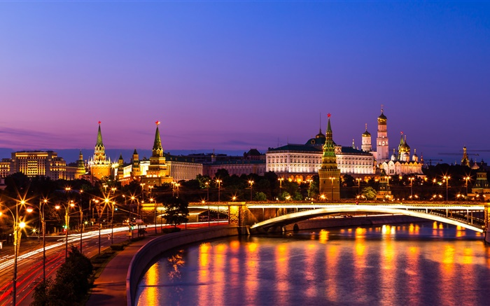 The Kremlin, Russia, Moscow, night city, river, lights Wallpapers Pictures Photos Images