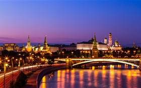 The Kremlin, Russia, Moscow, night city, river, lights HD wallpaper