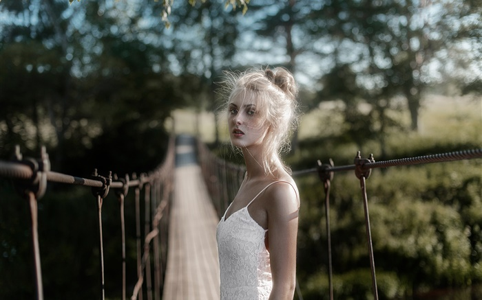 White dress blonde girl at bridge Wallpapers Pictures Photos Images