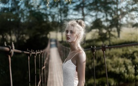White dress blonde girl at bridge
