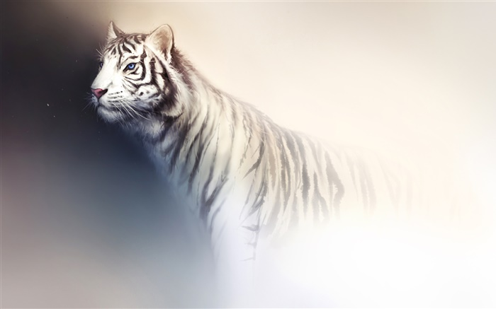 White tiger watercolor painting Wallpapers Pictures Photos Images