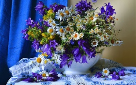 White yellow blue flowers, vase HD wallpaper