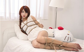 Asian girl at bed, rope HD wallpaper