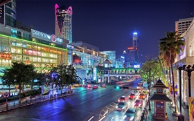 Bangkok, Thailand, city night, road, houses, lights HD wallpaper