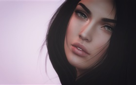 Black hair fantasy girl, face, look HD wallpaper