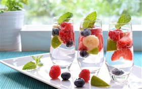 Drinks, berries, glass cups HD wallpaper