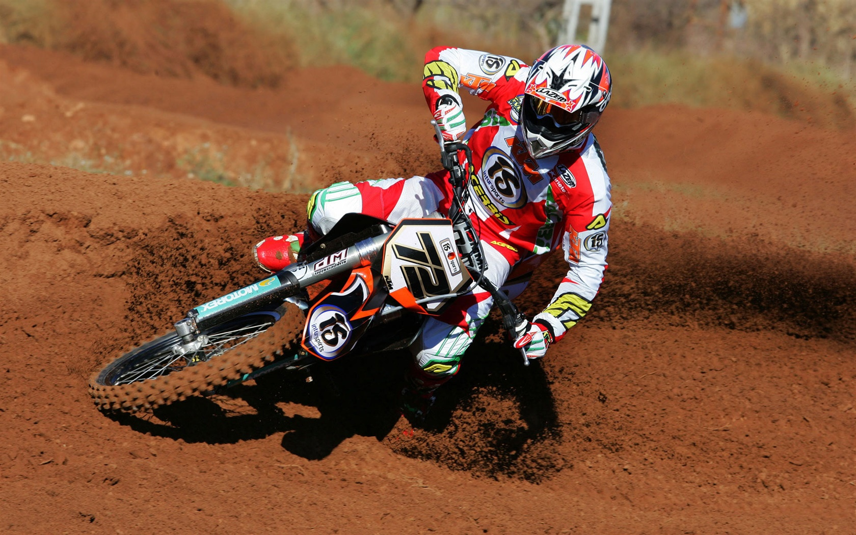 KTM Motorcycle race, drift 1680x1050 wallpaper