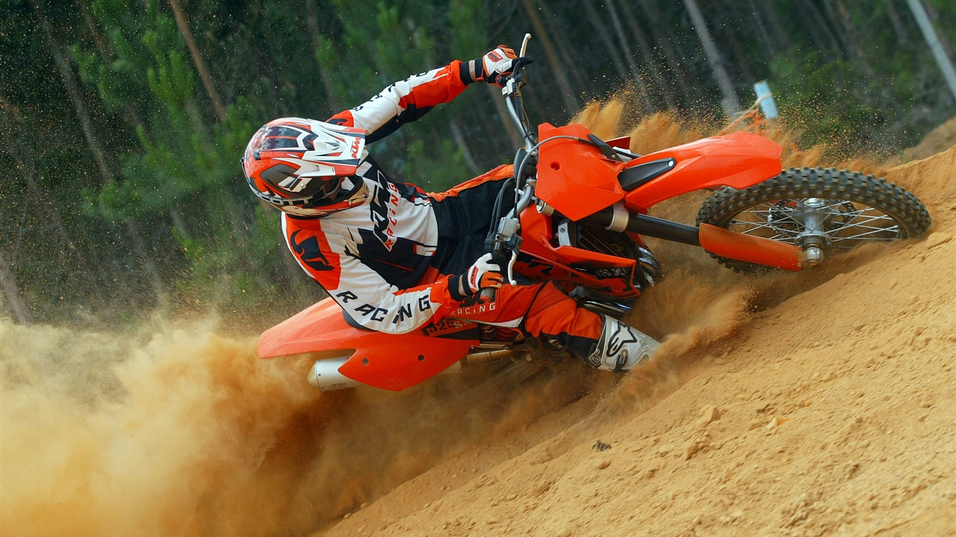 KTM motorcycle race 1366x768 wallpaper