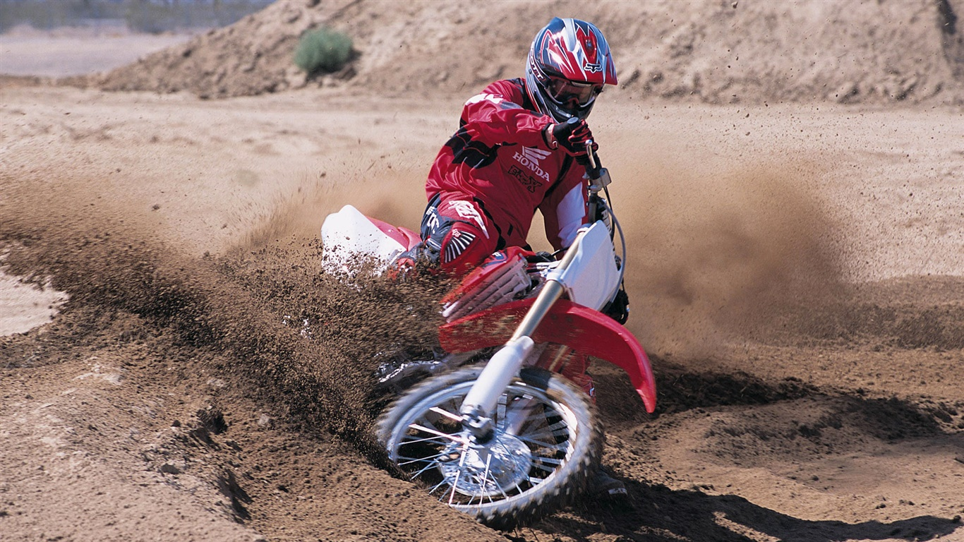 Sports, Honda motorcycle, racing, drift 1366x768 wallpaper